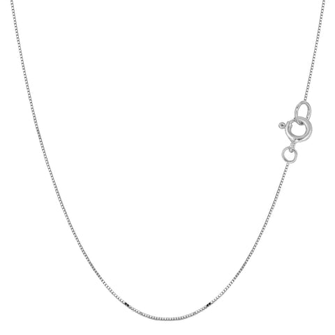 14k White Solid Gold Mirror Box Chain Necklace, 0.45mm