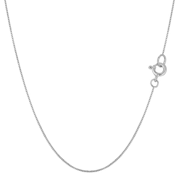 14k White Solid Gold Mirror Box Chain Necklace, 0.6mm