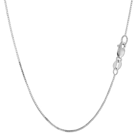 14k White Gold Classic Mirror Box Chain Necklace, 0.7mm - JewelryAffairs  - 1