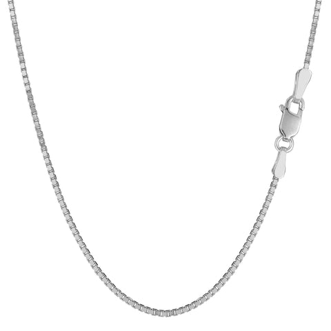 14k White Gold Classic Mirror Box Chain Necklace, 1.2mm - JewelryAffairs  - 1