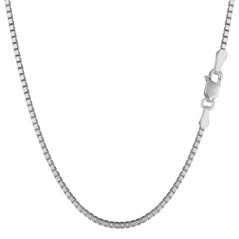 14k White Gold Classic Mirror Box Chain Necklace, 1.4mm - JewelryAffairs  - 1