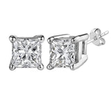 14k White Gold Princess Cut White Cubic Zirconia Stud Earrings - JewelryAffairs  - 4