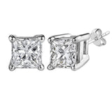 14k White Gold Princess Cut White Cubic Zirconia Stud Earrings - JewelryAffairs  - 7