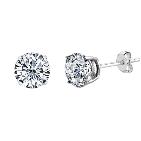 14k White Gold Round Cut White Cubic Zirconia Stud Earrings - JewelryAffairs  - 1