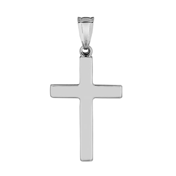 14k White Gold Shiny Square Cross Pendant