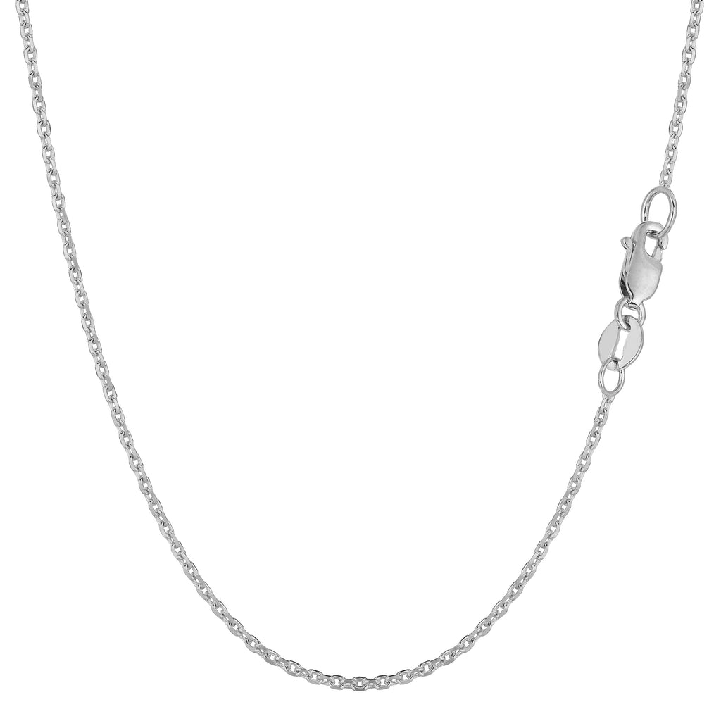 14k White Gold 1.1mm Box Link Thin Square Pendant Necklace Chain 16-30