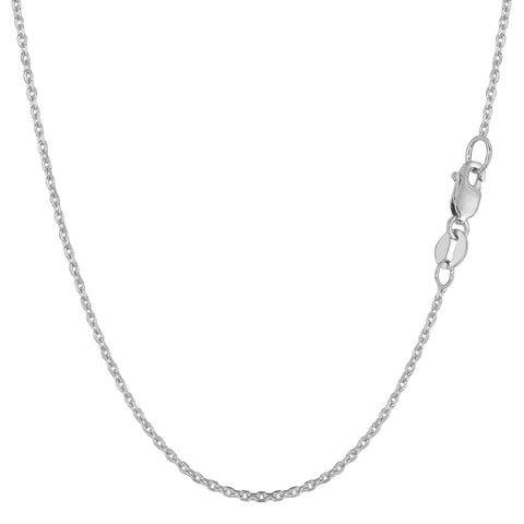 14k White Gold Cable Link Chain Necklace, 1.1mm - JewelryAffairs  - 1