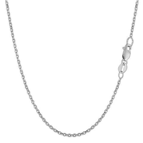 14k White Gold Cable Link Chain Necklace, 1.5mm - JewelryAffairs  - 1