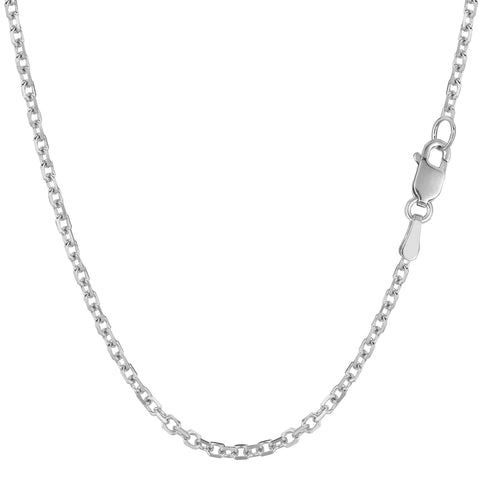 14k White Gold Cable Link Chain Necklace, 2.3mm - JewelryAffairs  - 1