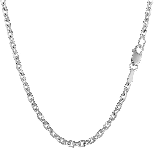 14k White Gold Cable Link Chain Necklace, 3.1mm - JewelryAffairs  - 1