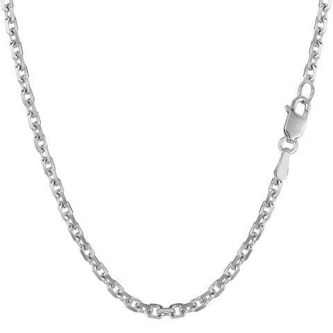 14k White Gold Cable Link Chain Necklace, 3.1mm
