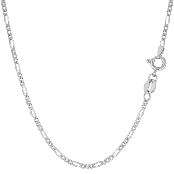 14k White Gold Classic Figaro Chain Necklace, 1.9mm