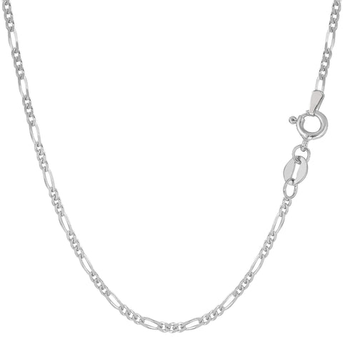 14k White Solid Gold Figaro Chain Necklace, 1.9mm