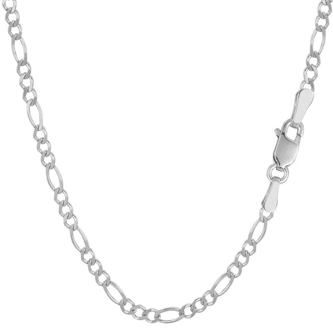 14k White Solid Gold Figaro Chain Bracelet, 2.6mm