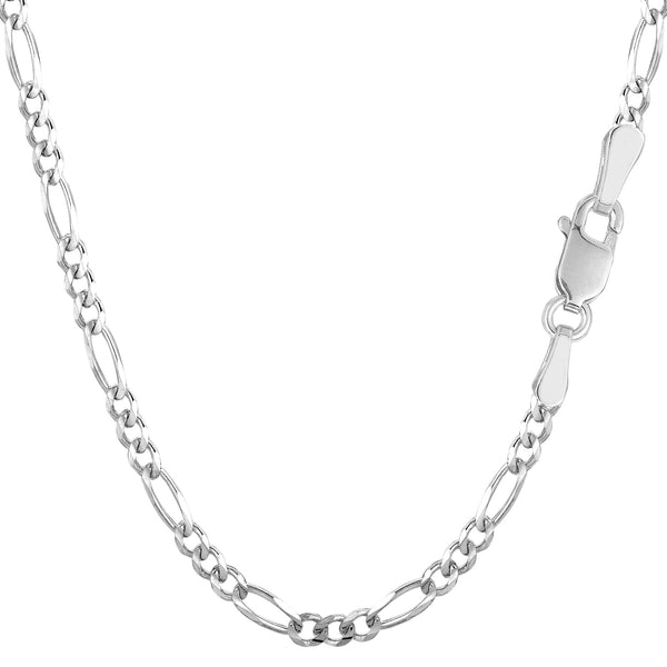14k White Solid Gold Figaro Chain Necklace, 3.0mm