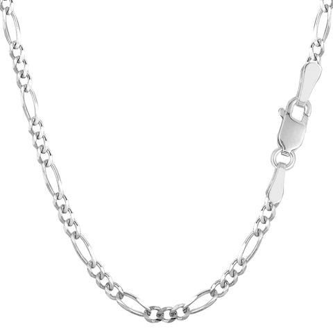 14k White Gold Classic Figaro Chain Necklace, 3.0mm - JewelryAffairs  - 1