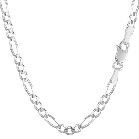 14k White Solid Gold Figaro Chain Necklace, 3.9mm