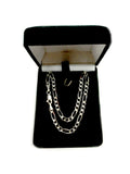 14k White Gold Classic Figaro Chain Necklace, 3.9mm