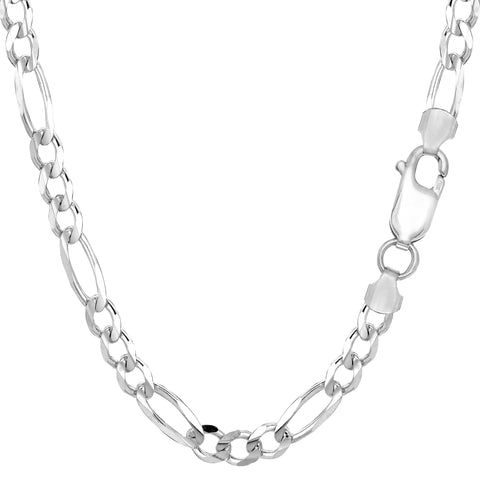 14k White Solid Gold Figaro Chain Necklace, 5.0mm