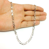 14k White Gold Classic Figaro Chain Necklace, 5.0mm