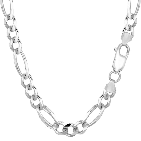 14k White Solid Gold Figaro Chain Necklace, 6.0mm