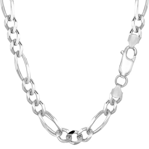14k White Gold Classic Figaro Chain Necklace, 6.0mm - JewelryAffairs  - 1