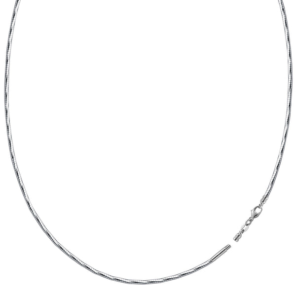 Diamond Cut Omega Chain Necklace With Screw Off Lock In 14k White Gold, 1.5mm