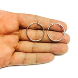 14k White Gold 1.5mm Shiny Round Tube Hoop Earrings