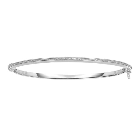 14k White Gold Shiny Oval Shape White Gliter Bangle Bracelet, 7.25""