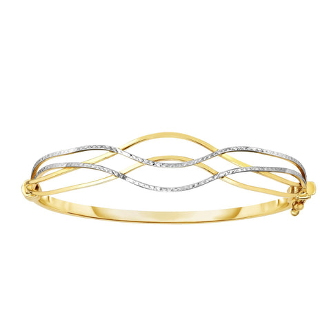 10k Yellow And White Gold High Polished Wave Bangle Bracelet, 7""