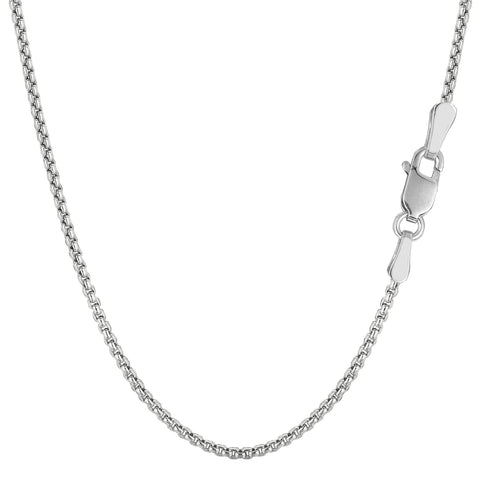 14k White Gold Round Box Chain Necklace, 1.4mm