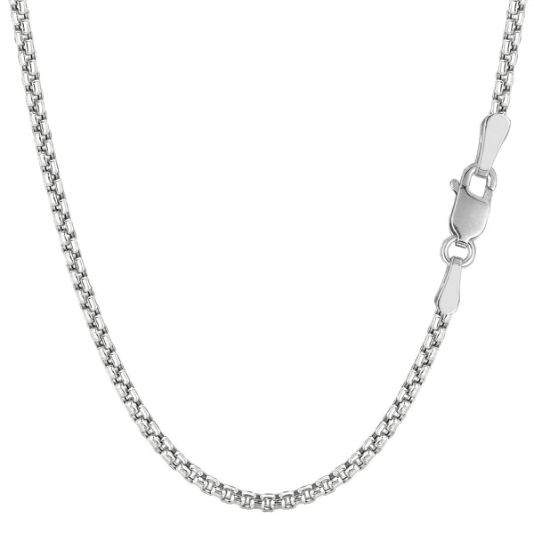 14k White Gold Round Box Chain Necklace, 2.4mm