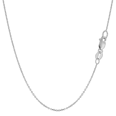 14k White Gold Round Cable Link Chain Necklace, 1.1mm