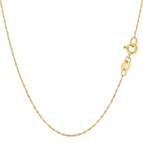 10k Yellow Gold Rope Chain Necklace, 0.5mm