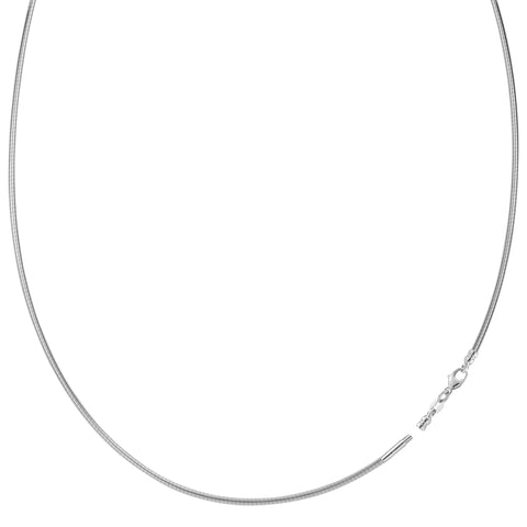 Round Omega Chain Necklace With Screw Off Lock In 14k White Gold, 1.5mm