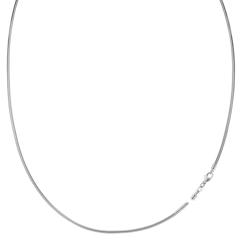 Round Omega Chain Necklace With Screw Off Lock In 14k White Gold, 1mm