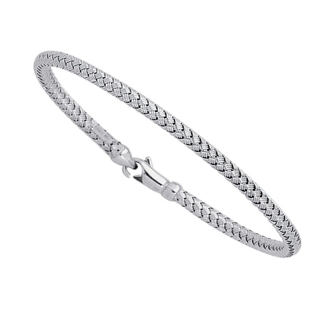 14k White Gold Weaved Women's Bangle Bracelet, 7.25""