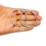 14K White Gold 3MM Shiny Round Tube Hoop Earrings