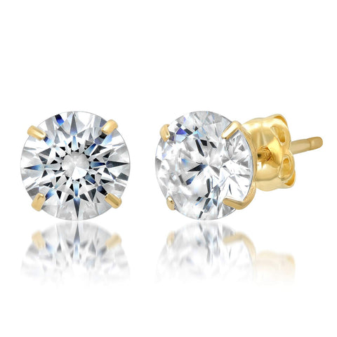 14k Yellow Gold Round Cut White Cubic Zirconia Stud Earrings