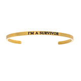 Intuitions Stainless Steel I'M A SURVIVOR Diamond Accent Cuff Bangle Bracelet