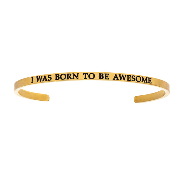 Intuitions Stainless Steel I WAS BORN TO BE AWESOME Diamond Accent Cuff Bangle Bracelet