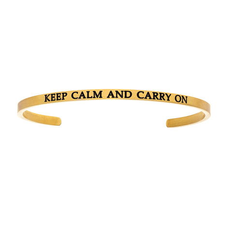 Intuitions Stainless Steel KEEP CALM AND CARRY ON Diamond Accent Cuff Bangle Bracelet