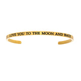 Intuitions Stainless Steel LOVE YOU TO THE MOON AND BACK Diamond Accent Cuff Bangle Bracelet