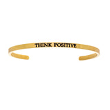 Intuitions Stainless Steel THINK POSITIVE Diamond Accent Cuff Bangle Bracelet