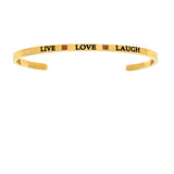 With Yellow Finish  Satin Square Live Love Laugh Cuff Bangle Bracelet