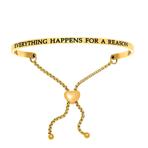 Intuitions Stainless Steel EVERYTHING HAPPENS FOR A REASON Diamond Accent Adjustable Bracelet