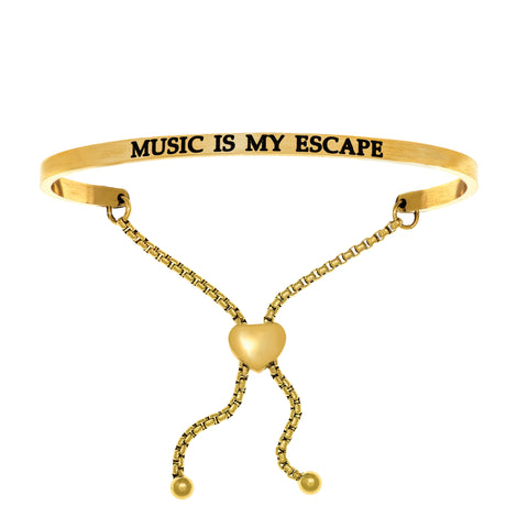 Intuitions Stainless Steel MUSIC IS MY ESCAPE Diamond Accent Adjustable Bracelet