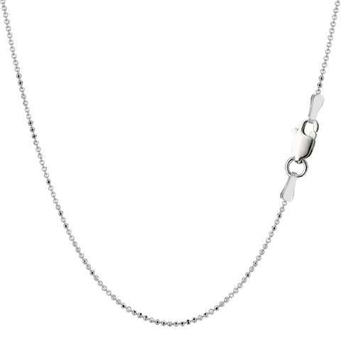 Sterling Silver Rhodium Plated Bead Chain Necklace, 1,0mm - JewelryAffairs  - 1