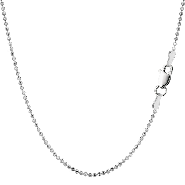 Sterling Silver Rhodium Plated Bead Chain Necklace, 1,5mm