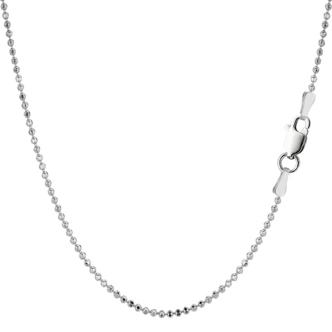 Sterling Silver Rhodium Plated Bead Chain Necklace, 1,5mm - JewelryAffairs  - 1